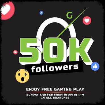 Thanks To All Our Followers!! Enjoy Free Gaming Hours this Sunday 17th Feb from 10AM to 1PM for everyone in all branches !